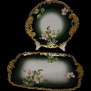 Limoges Antique  Gilt T & V  Serving Platters, Set of 2