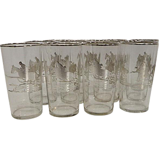 Vintage Silver Equestrian Highball Glasses, Set of 12