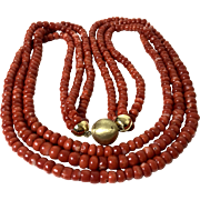 154 Gram genuine natural red aka coral beads antique coral necklace gold