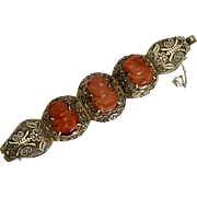 Large Chinese early 20th sterling silver carnelian bracelet