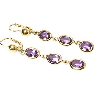 750 Yellow gold earrings with amethyst