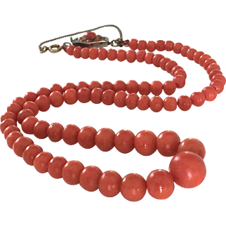 26.8GRAM old deep salmon natural coral bead coral necklace