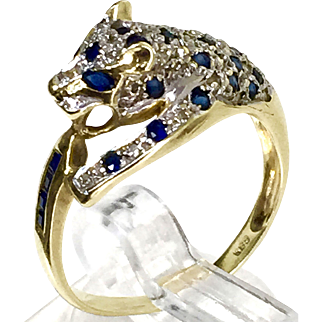 585 14k yellow gold panther Ring with genuine Sapphire and diamonds