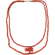 Old genuine natural un-dyed salmon color coral necklace with coral pendant