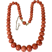 62.68 Gram 8mm-13mm antique genuine natural coral beads coral necklace