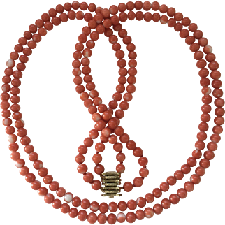 54.8 Gram Genuine natural MOMO coral bead coral necklace 585 yellow gold clasp