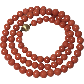 55.8 Gram old genuine deep salmon color coral beads 7.5mm-8.2mm coral necklace 14k gold clasp