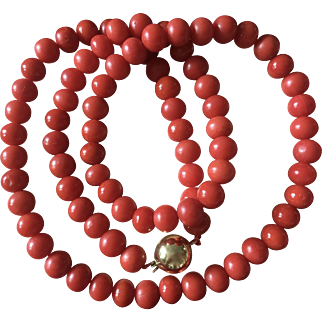 38.7 Gram 7mm old genuine natural red coral beads coral necklace 14k gold clasp
