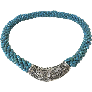 Turquoise beads turquoise necklace 875 silver clasp