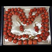 150 Gr.large coral beads old genuine natural coral necklace set in 14k gold