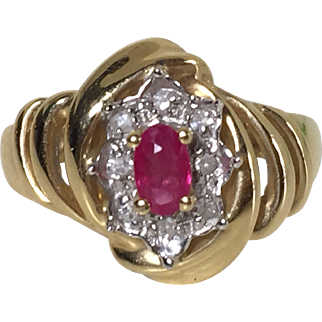 Solid 585 yellow gold genuine natural ruby diamond ring