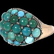 Old genuine Persian turquoise ring 14k rose gold