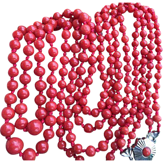 Fine beautiful 62.8 gram antique natural intensive red coral necklace 14k white gold clasp