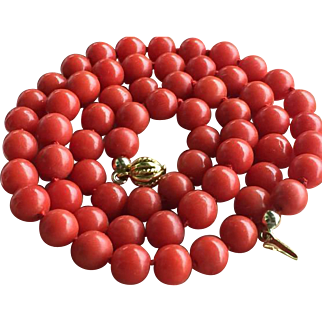 6.8mm-7mm Vintage natural red coral necklace 14k yellow gold clasp