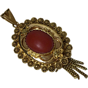 Rare old 14k Yellow gold natural red coral pendant