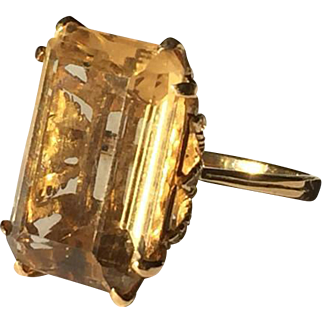 12.37 gram Huge citrine Ring emerald cut 14k yellow gold fine goldsmith work