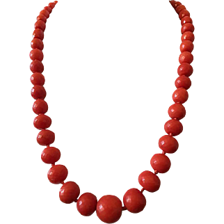 Vintage rare natural faceted coral bead coral necklace