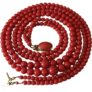 Natural red coral necklace 750 yellow gold clasp