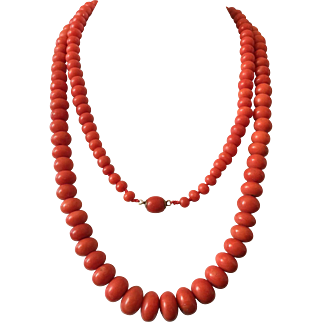 112 Gram antique natural coral beads coral necklace