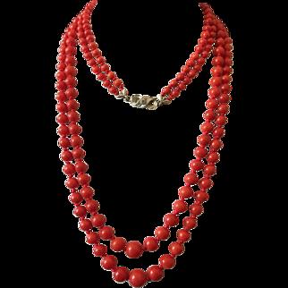 63 Gram vintage natural red coral necklace