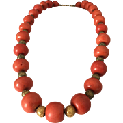 78.6 Gram 11mm-16mm large bead antique natural coral bead coral necklace