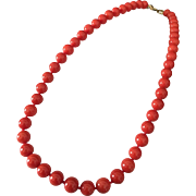 34 Gram 8mm very fine natural red coral necklace 14k gold clasp