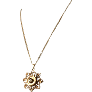 Antique 14k rose gold pendant with half pearl cabochon