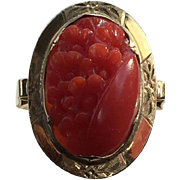 14K gold antique natural blood red aka coral ring