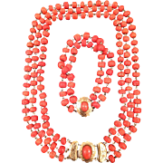 Antique natural deep salmon coral necklace coral bracelet complete in 14k gold