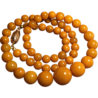 19.9Gram butterscotch amber necklace 14k rose gold clasp signed