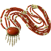 natura red coral necklace with pearl and gold beads 14k Yellow gold