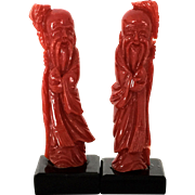 One pair natural blood red aka coral figures statues
