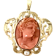 14k Yellow gold coral cameo pendant