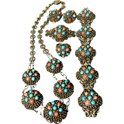 Chinese early 20th sterling silver bracelet with turquoise and coral cabochons