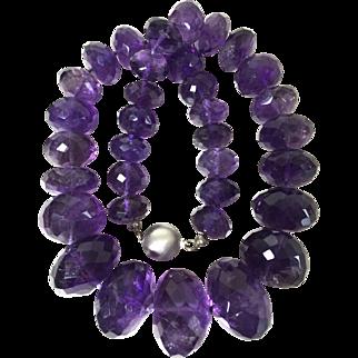 18mm-30mm Over 400 gram Genuine amethyst beads necklace