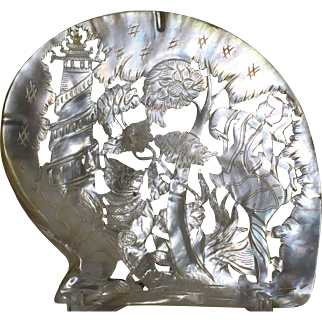 Large 1900's orient carved Mother of Pearl