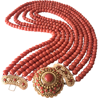 Large old natural coral bead coral necklace 14k gold clasp 153 Gram