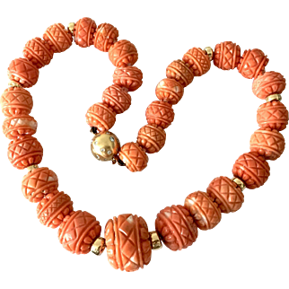 Rare carved natural coral necklace gold diamonds