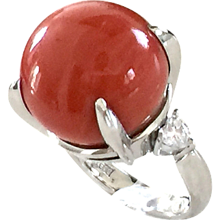 Platin large coral bead diamond coral ring