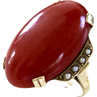 Blood red aka coral ring seed pearl 14k gold
