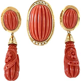 rare huge 18k Yellow Gold coral ring coral earrings set
