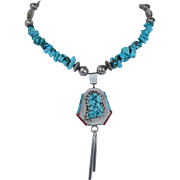 Sterling Silver Turquoise and Coral Spinning Necklace