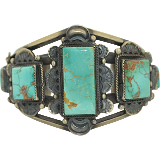 Native American Gilbert Tom Sterling Silver and Turquoise Large Cuff Bracelet