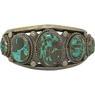 Vintage Sterling Silver & Turquoise Cuff Bracelet Hand Wrought