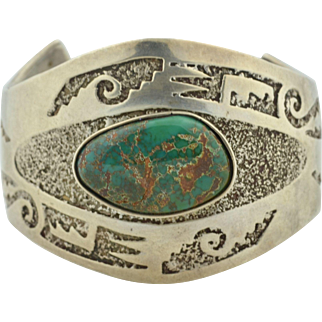 Native American Navajo Sterling Silver & Turquoise Bracelet Cuff Signed by M Begay
