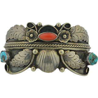 Native American Phil Chapo Signed Sterling Silver Turquoise & Coral Bracelet _ Cuff