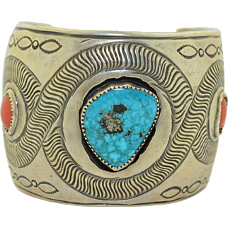 Extra Wide Sterling Silver Bracelet Cuff With Turquoise and Coral