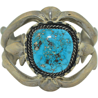 Lovely Vintage Sand Cast Sterling Silver Bracelet with Bright Blue Turquoise