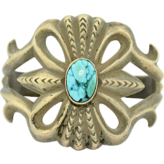 San Cast Sterling Silver and Turquoise Large Cuff Bracelet