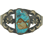 Signed KS Native american Sterling Silver & Turquoise Bracelet Cuff